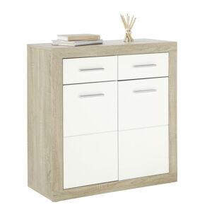 Boxxx KOMODA, biela, dub sonoma, 117/88/37 cm