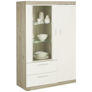 Xora KOMODA HIGHBOARD, biela, farby dubu, 95/139/40 cm - biela, farby dubu