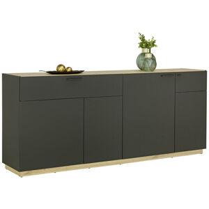 PRÍBORNÍK/KOMODA, čierna, farby dubu, 200/84/41,5 cm - čierna, farby dubu