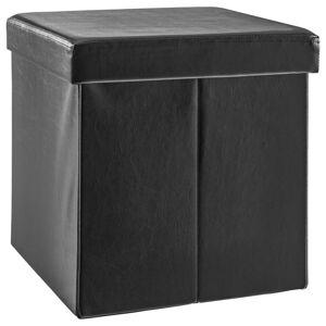 Carryhome SEDACÍ BOX, textil, kompozitné drevo, 38/38/38 cm - čierna