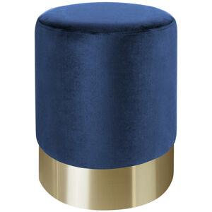 Xora TABURET, kov, textil, 35/42/35 cm - modrá, zlatá