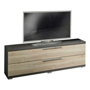 Xora TV DIEL, grafitová, farby dubu, 121/49/41 cm - grafitová, farby dubu
