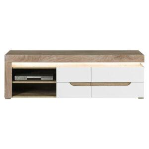 Hom`in TV STOJAN, dub, biela, farby dubu, 152/48/44,5 cm - biela, farby dubu